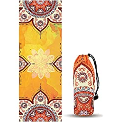 Toalla de Yoga y Pilates UCEC, Diseños Mandala, Toalla esterilla de Yoga Antideslizante, Absorción Ultra Suave y Anti- Sudor, Perfectos para Bikram, Pilates, Transportable, Pack de 1 (Bolso Incluido)