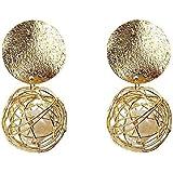 Orecchini Donne figura geometrica della sfera di metallo della perla di goccia Filled Earrings Eardrop Girlish Ear Decoration