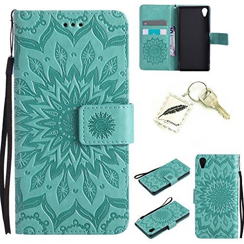 Silikonsoftshell PU Hülle für Sony Xperia X (5 Zoll) Tasche Schutz Hülle Case Cover Etui Strass Schutz schutzhülle Bumper Schale Silicone case(+Exquisite key chain X1) #KD (3)