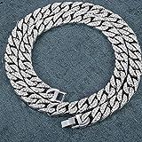 Pollusui Collar de Diamantes llenos de Hip-Hop Chapado en Oro Collar de Cadena Cubana Joyas (Color : Silver, Size : 24inch)