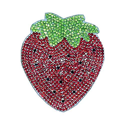 Lucky Patches, Strass Steine, Selbstkebend, Applikation, Aufbügler, Iron on Patch - Erdbeere, Glitzer, Glamor, Stern, Star 6 x 7 cm (Sechs-sterne-erdbeere)
