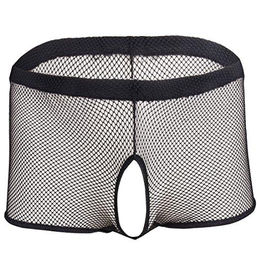 dPois Herren Mesh Boxer Shorts Offen Schritt Unterwäsche Männer Unterhose mit Penisloch Trunks mit Transparent Effekt Erotik Dessoue Nachtwäsche Reizwäsche M-XL Schwarz M -