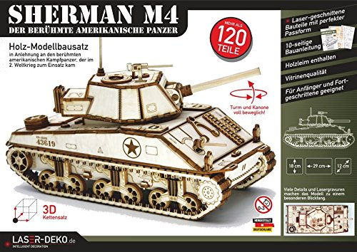 SHERMAN M4: Holz-Modellbausatz