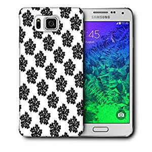 Snoogg Black Floral Pattern Printed Protective Phone Back Case Cover For Samsung Galaxy SAMSUNG GALAXY ALPHA