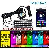 MIHAZ RGB 9 LED bajo el sistema Underbody del resplandor del coche Sistema neón de las luces 12cm con la función activa sana y teledirigido sin hilos (RGB los 4 * 12cm con el control de la música)