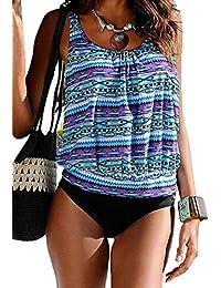 DIERDI Mujer Tankini Stripes 2pcs más tamaño Ladies Casual traje de baño Comfort Beachwear con pantalones cortos