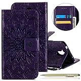 Herbests Hülle Huawei Honor 6C Handyhülle Lederhülle Leder Flip Case Handy Schutzhülle Ledertasche Blumen Muster Klapphülle Wallet Cover Handytasche Kartenfach und Ständer,lila