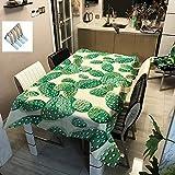 Sticker Superb Vert Cactus Nappe de Table Imperméable Polyester, Essuyer Nettoyer Rectangle Nappe de Table pour Fête De Plein Air Sport Pique-Nique (Cactus4,90x90cm)