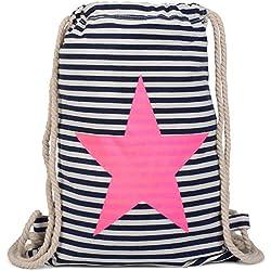 styleBREAKER bolsa de deporte, mochila con diseño marinero a rayas y estampado de ancla, unisex 02012052, Color Azul marino-Blanco/Fucsia