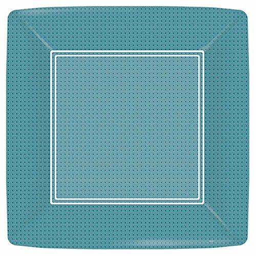 Paperproducts Design PPD 87235 Pappteller SOHO Petrol Dessert-Teller, quadratisch, 18 cm, Grün