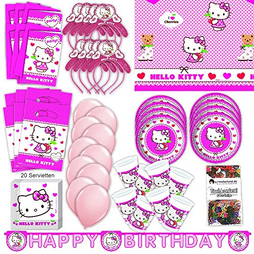 Procos Hello Kitty Party Set XL 75-teilig für 6 Gäste Kittyparty Geburtstag Deko Partypaket