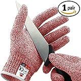 NoCry Schnittschutzhandschuhe - Leistungsfähiger Level 5 Schutz, lebensmittelecht. Größe : XL, 1 Paar, Rot