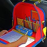 EELITES Organizer per Sedile Auto per Bambini – Multifunzione: Tavolino, Valigetta Porta Giochi, Cartella con Tracolla, Supporto Tablet, con Tasche Portaoggetti Interne – Per Lunghi Viaggi in Auto