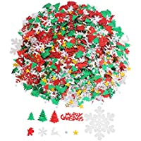 VEYLIN 80g Christmas Confetti Assorted Shapes Colors and Sizes for Christmas Table Decoration