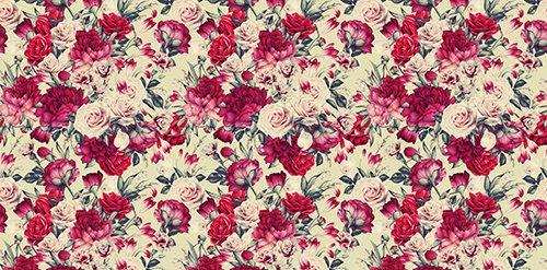 Printodecor - Alfombra Vinílica Impresa, Multicolor (Floral Red Romance), 97 x 48 cm