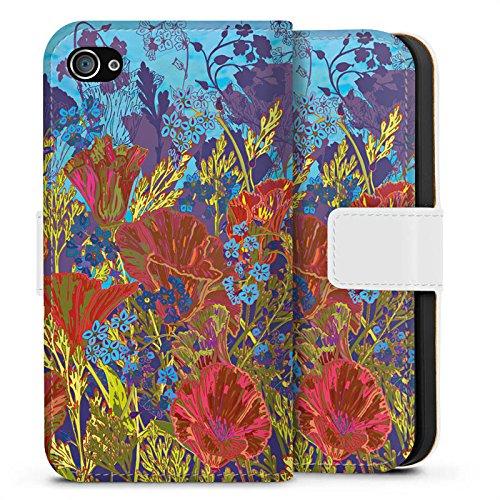 Apple iPhone X Silikon Hülle Case Schutzhülle Rote Blumen Muster Sideflip Tasche weiß