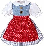 Käthe Kruse 33994 - Dirndl per bambola, con grembiule rosso, 39-41 cm