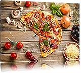 Leckere Pizza Italia auf Holztisch Format: 100x70 auf Leinwand, XXL riesige Bilder fertig gerahmt mit Keilrahmen, Kunstdruck auf Wandbild mit Rahmen, günstiger als Gemälde oder Ölbild, kein Poster oder Plakat