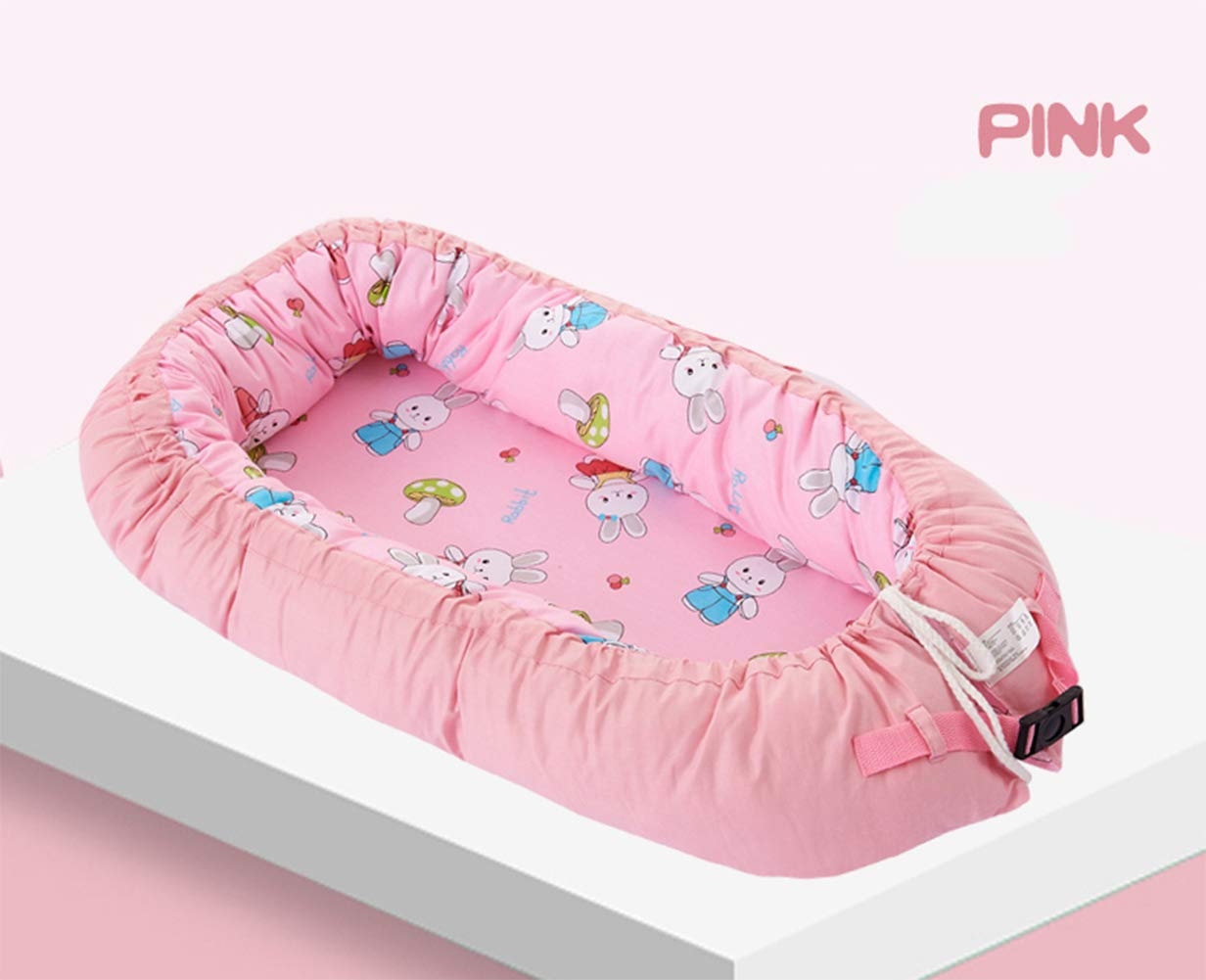 LNDD-2 in 1 Baby Nest Cushion Cocoon Baby Lounger Bionic Uterine Cradle Mattresses Travel Bumpers,Pink LNDD ★CARE FOR THE BABY'S SPINE: The sponge mattress fits the baby's back, moderately soft and hard, and the sleep is evenly applied for a long time. ★RETRACTABLE DESIGN: buckle drawstring design Telescopic adjustment Different ages Different comfort spaces. ★MULTI-FUNCTION: windproof and anti-mosquito shading, easy to use, handle design foldable, easy to carry out and easy to take 1