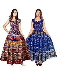 New Radhika Enterprises Multicoloure Jaipuri Floral Print Cotton Maxi Designer Long Dresses for Women (Combo Pack of 2 pcs)