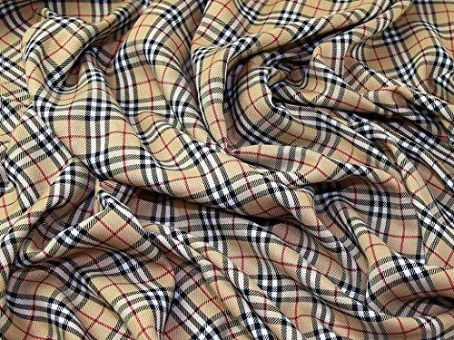 Minerva Crafts Burnberry Plaid kariert Polyester Tartan passend Kleid Stoff beige, schwarz & rot-Meterware -