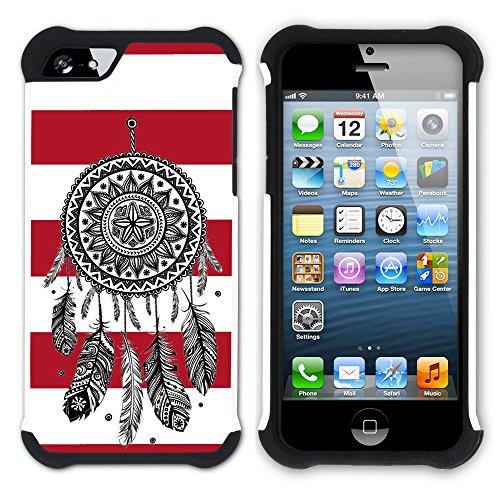 Graphic4You Traumfänger Linien Muster (Wasserblau) Hart + Weiche Kratzfeste Hülle Case Schale Tasche Schutzhülle für Apple iPhone SE / 5 / 5S Rot