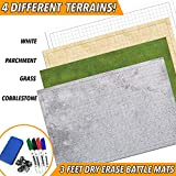 RPG Battle Game Mat - 2 Pack Dry Erase Double sided 36 x 24 (4 Terrains) + 4 Dry Erase Markers + 1 Eraser + 7pc Polyhedr