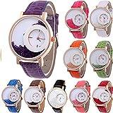 Paquete de 10 relojes femeninos marca YUNANWA, al por mayor, con correa de cuero y efecto de arenas movedizas, reloj pulsera de vestir.