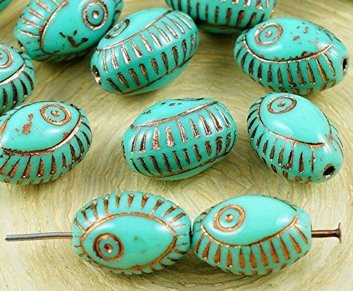 8pcs Opaque Turquoise de Cuivre Vert Bronze Mauvais il Égyptien Renouveau de la Méditerranée Talisman de Poissons Marins Ovale en Verre tchèque Perles de 13mm x 9mm
