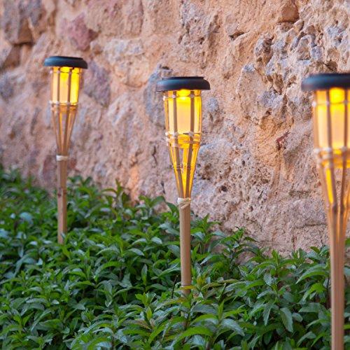 Lights4fun Lot de 6 Torches de Jardin LED Solaire en Bambou