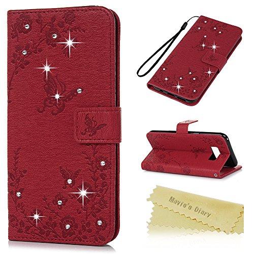 S8 Tasche Mavis's Diary Case für Samsung Galaxy S8 PU Leder (TPU innere Schicht) Tasche Flipcase Glitzer-Strass Case Schutzhülle Schmetterling und Blumen Strasstein mit Kreditkarteninhaber Kippständer Magnetverschlus Handyhülle Rot