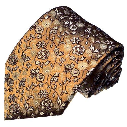 LORENZO CANA - Handgefertigte Designer Krawatte aus 100% Seide - Seidenkrawatte Braun Beige Blumen floral - 42071