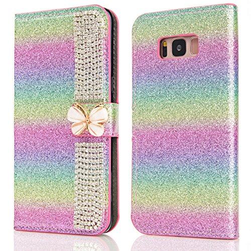 Samsung Galaxy S8 Funda Lujo Brillante Sparkling Glitter Cover 3D Bling Diamante Case Cover PU Cuero Shell con Flip Stand Case e Cierre Magnético Shockproof Cover Rainbow 2