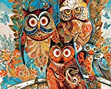 DIY Vorgedruckt Leinwand-Ölgemälde Geschenk für Erwachsene Kinder Malen Nach Zahlen Kits mit Holzrahmen Home Haus Dekor - Eulenstadt 15.75 * 19.69 inch