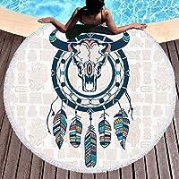 ISAAC ENGLAND Calavera de la India Toalla de Playa Redonda Atrapasueños Borla Tapicería Estera de Yoga
