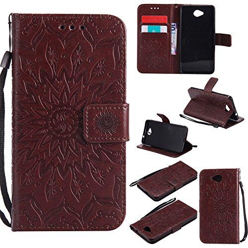 YYhin Schutzfolie für Microsoft Lumia 650/Lumia 650 Dual-SIM hülle, Cartera Wallet Leder abnehmbare magnetische abnehmbare Tasche mit Flip Schutzhülle Case.(Braun)