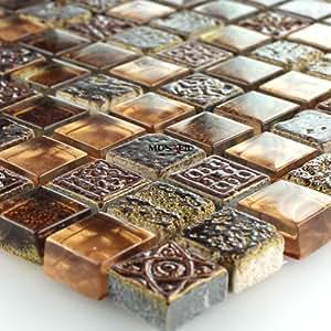 Glas marmor mosaik fliesen braun gold glasmosaik 15x15x8mm marmorglas baumarkt - Mosaik fliesen braun ...
