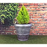 Pack de 2redonda grande peltre efecto jardín maceta/macetero, diámetro de 55cm, altura de 49cm (bañera)