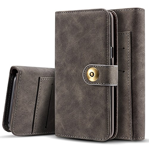 EKINHUI Case Cover Retro Style abnehmbare magnetische Leder Tasche mit großem Capard Card Cash Slots und Secure Niet Gürtelschnalle für Samsung Galaxy S8 Plus ( Color : Brown ) Gray