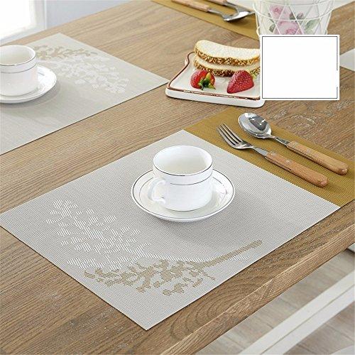 XXSZKAA Creative Color Impression Table Mat Table De Cuisine Décoration Ouest Coussin De Table En Pvc Isolé Européen Rectangulaire, Jaune 4 Pièces, 45 * 30 Cm