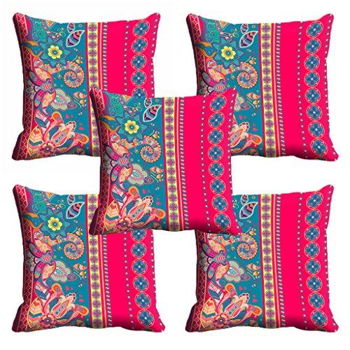 meSleep Pink Ethnic Cushion Cover (16x16) - Set of 5