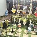LAAT Blumenampel Makramee Blumenampel Seil Dual-Blumenampel Pflanze Hanger Dekoration Korb Halter Dekoration für Indoor Outdoor Balkon decken Liefert von LAAT auf Du und dein Garten