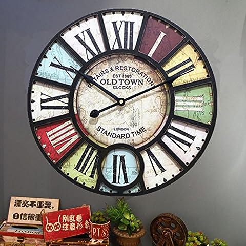 Damjic La Mode Européenne Retro Watch Bar Café Prix Mute Réveil Horloge ?? Décorative Vent Industrielle39Cm F