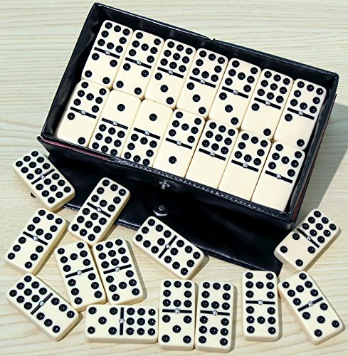 Dominoes double nine, plastic, black spots, spinners - 00122