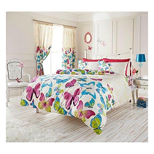 Just Contempo - Funda nórdica reversible (incluye fundas para almohadas, disponible en varios tamaños), diseño de mariposas, algodón poliéster, azul, rosa, blanco y morado, doble