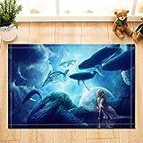 CUIMEISHEN Ocean Decor Marine Wilden Tier Mermaid Blick auf Wale Bath Teppiche Rutschfeste Fußmatte Boden Eingangsbereiche Indoor Haustür Matte Kids Badematte 40X60CM Bad-Accessoires
