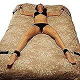 Bett Fesseln Set BDSM Sex Bondage mit Handschellen Fußfesseln Bett Sets Bettfessel Sexspielzeug SM  Unter Bett Restraint Kit für Anfänger und Paare (Schwarz)