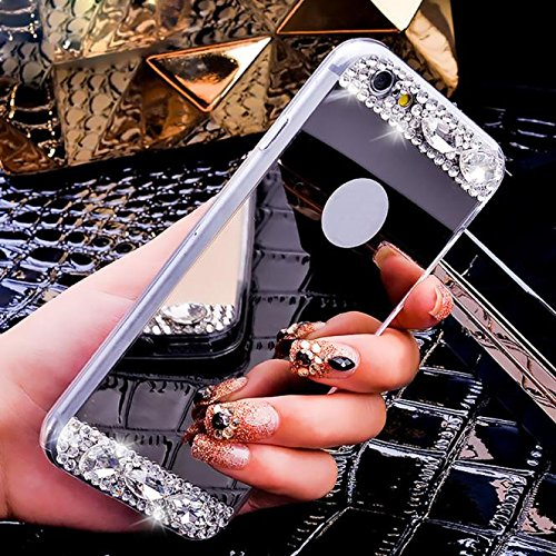 Malloom® Donna Specchio Diamante Lusso Bling Indietro TPU Custodie Cover per iPhone 6 6S Plus 5.5 inch (Nero)