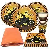 Halloween Set di Accessori per il Tavolo Usa e Getta - Per 15 Invitati - Ottimo per le Feste - 15 Bicchieri a Tema, 15 Piatti, 30 Fazzoletti e un Grande Copri Tovaglia!