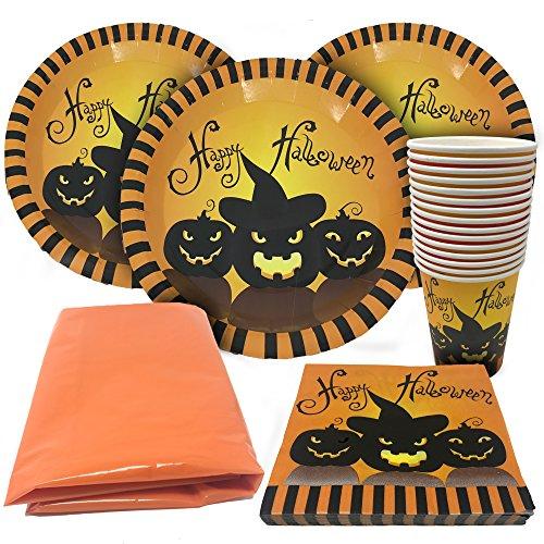 61 teiliges Halloween Party Geschirr Set – geeignet für 15 Gäste – Partyset beinhaltet gruselige Becher, Teller, Servietten und eine Tischdecke!